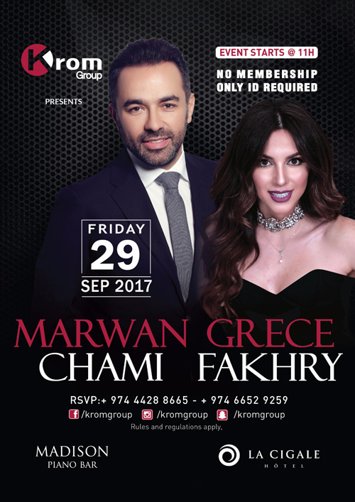 La Cigale Hotel - Marwan Chami and Grece Fakhry Night @ Madison Piano Bar