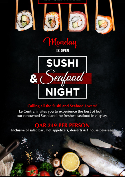 La Cigale Hotel - Open Sushi and Seafood Night @ Le Central
