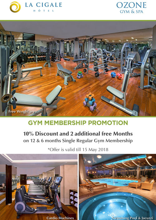 La Cigale Hotel - Gym Offer for 12 and 6 Months Membership